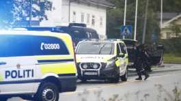 Policemen are seen at the Al-Noor Islamic Center after a shooting in Baerum, near Oslo