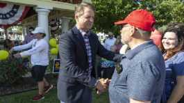 U.S. Rep. Roger Marshall shakes hands with supporters